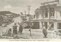 "<span class=""caption-caption"">Currie Street showing Shire Hall, Nambour</span>, c1960. <br />Postcard folder by <span class=""caption-publisher"">Murray Views Pty Ltd</span>, collection of <span class=""caption-contributor"">Centre for the Government of Queensland</span>."