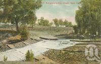 "<span class=""caption-caption"">Weir, Bungeworgorai Creek, near Roma</span>, c1910. <br />Postcard by <span class=""caption-publisher"">Unknown Publisher</span>, collection of <span class=""caption-contributor"">Centre for the Government of Queensland</span>."