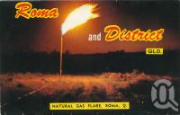 """<span class=""""caption-caption"""">Natural gas flare, Roma</span>, c1962. <br />Postcard folder by <span class=""""caption-publisher"""">Murray Views Pty Ltd</span>, collection of <span class=""""caption-contributor"""">Centre for the Government of Queensland</span>."""
