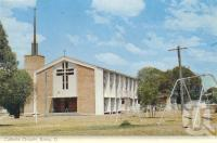 """<span class=""""caption-caption"""">Catholic Church, Roma</span>, c1962. <br />Postcard folder by <span class=""""caption-publisher"""">Murray Views Pty Ltd</span>, collection of <span class=""""caption-contributor"""">Centre for the Government of Queensland</span>."""