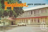"""<span class=""""caption-caption"""">Lake Eacham Hotel, Yungaburra</span>, c1960. <br />Postcard folder by <span class=""""caption-publisher"""">Murray Views Pty Ltd</span>, collection of <span class=""""caption-contributor"""">Centre for the Government of Queensland</span>."""