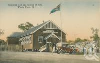 """<span class=""""caption-caption"""">Memorial Hall and School of Arts, Woody Point</span>, c1913. <br />Postcard by <span class=""""caption-publisher"""">Retrac Series</span>, collection of <span class=""""caption-contributor"""">Centre for the Government of Queensland</span>."""