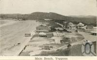"<span class=""caption-caption"">Main beach, Yeppoon</span>, c1938. <br />Postcard folder by <span class=""caption-publisher"">Unknown Publisher</span>, collection of <span class=""caption-contributor"">Centre for the Government of Queensland</span>."