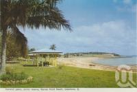 "<span class=""caption-caption"">Coconut Palms, picnic reserve, Barney Point Beach, Gladstone</span>, c1960. <br />Postcard folder by <span class=""caption-publisher"">Murray Views Pty Ltd</span>, collection of <span class=""caption-contributor"">Centre for the Government of Queensland</span>."