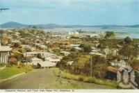 "<span class=""caption-caption"">Gladstone harbour and town from Radar Hill, Gladstone</span>, c1960. <br />Postcard folder by <span class=""caption-publisher"">Murray Views Pty Ltd</span>, collection of <span class=""caption-contributor"">Centre for the Government of Queensland</span>."