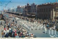 "<span class=""caption-caption"">The parade, Carnival of Flowers, Ruthven Street, Toowoomba</span>, c1960. <br />Postcard folder by <span class=""caption-publisher"">Murray Views Pty Ltd</span>, collection of <span class=""caption-contributor"">Centre for the Government of Queensland</span>."