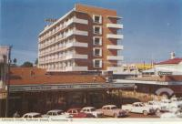 "<span class=""caption-caption"">Lennons Hotel, Ruthven Street, Toowoomba</span>, c1960. <br />Postcard folder by <span class=""caption-publisher"">Murray Views Pty Ltd</span>, collection of <span class=""caption-contributor"">Centre for the Government of Queensland</span>."