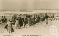"""<span class=""""caption-caption"""">Surfing Main Beach, Southport</span>, c1928. <br />Postcard by <span class=""""caption-publisher"""">Real Photograph</span>, collection of <span class=""""caption-contributor"""">Centre for the Government of Queensland</span>."""