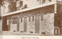 """<span class=""""caption-caption"""">Amenities block, Brisbane City Caravan Park, Hawthorne. The park was located in Scott Street (alongside ferry) on the banks of the Brisbane River. It offered 'septic lavatories'.</span>, c1954. <br />Booklet by <span class=""""caption-publisher"""">Unknown Publisher</span>, collection of <span class=""""caption-contributor"""">Centre for the Government of Queensland</span>."""