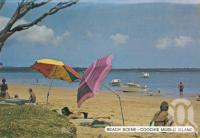 "<span class=""caption-caption"">Beach scene - Coochie Mudlo Island</span>, c1980. <br />Postcard folder by <span class=""caption-publisher"">Sydney G Hughes Pty Ltd</span>, collection of <span class=""caption-contributor"">Centre for the Government of Queensland</span>."