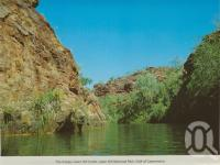 "<span class=""caption-caption"">The gorge, Lawn Hill Creek, Lawn Hill National Park, Gulf of Carpentaria</span>, c1990. <br />Postcard folder by <span class=""caption-publisher"">Murray Views Pty Ltd</span>, collection of <span class=""caption-contributor"">Centre for the Government of Queensland</span>."