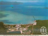 "<span class=""caption-caption"">Aerial view of tourist resort and Royal Hayman Hotel, Hayman Island, Great Barrier Reef</span>, 1975. <br />Postcard folder by <span class=""caption-publisher"">Murray Views Pty Ltd</span>, collection of <span class=""caption-contributor"">Centre for the Government of Queensland MS</span>."