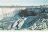 "<span class=""caption-caption"">Open-cut mine, Blair Athol</span>, c1961. <br />Postcard folder by <span class=""caption-publisher"">Murray Views Pty Ltd</span>, collection of <span class=""caption-contributor"">Centre for the Government of Queensland MS</span>."