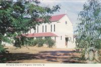 "<span class=""caption-caption"">All Saints Church of England, Clermont</span>, c1961. <br />Postcard folder by <span class=""caption-publisher"">Murray Views Pty Ltd</span>, collection of <span class=""caption-contributor"">Centre for the Government of Queensland MS</span>."