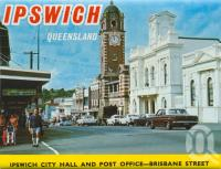 "<span class=""caption-caption"">Ipswich City Hall and post office, Brisbane Street, Ipswich</span>, c1974. <br />Postcard folder by <span class=""caption-publisher"">Sydney G Hughes Pty Ltd</span>, collection of <span class=""caption-contributor"">Centre for the Government of Queensland MS</span>."