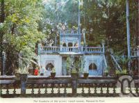 """<span class=""""caption-caption"""">The fountain at the picnic lunch rooms, Paronella Park</span>, c1968. <br />Postcard folder by <span class=""""caption-publisher"""">Unknown Publisher</span>, collection of <span class=""""caption-contributor"""">Centre for the Government of Queensland</span>."""