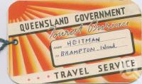 "<span class=""caption-caption"">Queensland Government Tourist Bureau luggage tag</span>, 1962. <br />Ephemera, collection of <span class=""caption-contributor"">Centre for the Government of Queensland</span>."