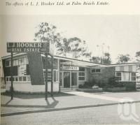 "<span class=""caption-caption"">Office of LJ Hooker at Palm Beach Estate</span>. <br />From <span class=""caption-book"">Gold Coast: The story of the Gold Coast of Queensland and Hinterland</span>, 1958, collection of <span class=""caption-contributor"">John Young</span>."