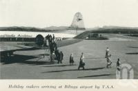 "<span class=""caption-caption"">Holiday makers arriving at Bilinga airport by TAA</span>. <br />From <span class=""caption-book"">Gold Coast: The story of the Gold Coast of Queensland and Hinterland</span>, 1958, collection of <span class=""caption-contributor"">John Young</span>."