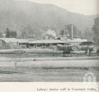 """<span class=""""caption-caption"""">Lahey's timber mill in Canungra Valley</span>. <br />From <span class=""""caption-book"""">Gold Coast: The story of the Gold Coast of Queensland and Hinterland</span>, 1958, collection of <span class=""""caption-contributor"""">John Young</span>."""