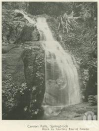 "<span class=""caption-caption"">Canyon Falls, Springbrook</span>, 1937. <br />Booklet, collection of <span class=""caption-contributor"">John Young</span>."