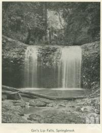 "<span class=""caption-caption"">Gin's Lip Falls, Springbrook</span>, 1937. <br />Booklet, collection of <span class=""caption-contributor"">John Young</span>."