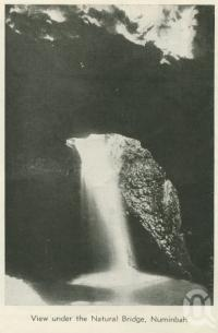 """<span class=""""caption-caption"""">View under the Natural Bridge, Numinbah</span>, 1937. <br />Booklet, collection of <span class=""""caption-contributor"""">John Young</span>."""
