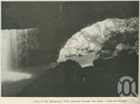 """<span class=""""caption-caption"""">View of the Macgregor Falls, passing through the Cave - (Natural Bridge)</span>, 1937. <br />Booklet, collection of <span class=""""caption-contributor"""">John Young</span>."""