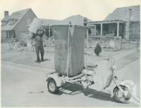 """<span class=""""caption-caption"""">Motor-scooter tricycles in Brisbane used to collect waste paper for the Petrie Paper Mill</span>, 1957. <br />Booklet, collection of <span class=""""caption-contributor"""">John Young</span>."""