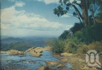 "<span class=""caption-caption"">Goomoolahra Falls, Springbrook</span>, 1950. <br />Booklet, collection of <span class=""caption-contributor"">John Young</span>."