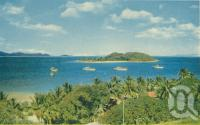 """<span class=""""caption-caption"""">The anchorage at Lindeman Island, Great Barrier Reef</span>, 1950. <br />Booklet, collection of <span class=""""caption-contributor"""">John Young</span>."""