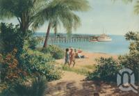 """<span class=""""caption-caption"""">Beach scene on Green Island</span>, 1950. <br />Booklet, collection of <span class=""""caption-contributor"""">John Young</span>."""