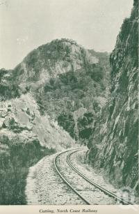 "<span class=""caption-caption"">Cutting North Coast Railway</span>, c1925. <br />Booklet, collection of <span class=""caption-contributor"">John Young</span>."
