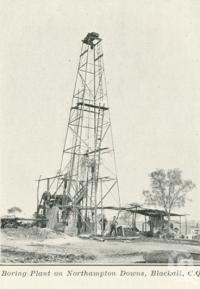 "<span class=""caption-caption"">Boring plant on Northampton Downs, Blackall</span>. <br />From <span class=""caption-book"">Queensland Sheep and Wool Industry</span>, <span class=""caption-creator"">Queensland Government Intelligence and Tourist Bureau</span>, Brisbane, 1918, collection of <span class=""caption-contributor"">Centre for the Government of Queensland</span>."