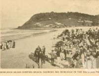 "<span class=""caption-caption"">Burleigh Heads surfing beach, showing Big Burleigh in the background</span>. <br />From <span class=""caption-book"">The Simbel Souvenir of the Glorious South Coast</span>, <span class=""caption-publisher"">The Read Press</span>, Brisbane, c1926, collection of <span class=""caption-contributor"">Centre for the Government of Queensland</span>."