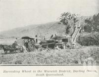 "<span class=""caption-caption"">Harvesting wheat in the Warwick District, Darling Downs</span>. <br />From <span class=""caption-book"">The Pocket Queensland</span>, <span class=""caption-creator"">Queensland Government Intelligence and Tourist Bureau</span>, Brisbane, 1921, collection of <span class=""caption-contributor"">Centre for the Government of Queensland</span>."