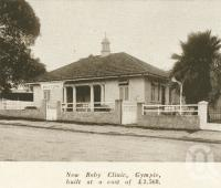 """<span class=""""caption-caption"""">Baby clinic, Gympie</span>. <br />From <span class=""""caption-book"""">Brisbane, Australia's Sunshine City, Souvenir Commemorating the Visit of HRH The Dule of Gloucester</span>, <span class=""""caption-creator"""">Brisbane City Council</span>, Brisbane, 1934, collection of <span class=""""caption-contributor"""">Centre for the Government of Queensland</span>."""