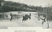 "<span class=""caption-caption"">Native canoes' on the Bloomfield River</span>. <br />From <span class=""caption-book"">Australia Unlimited</span>, <span class=""caption-creator"">Edwin J Brady</span>, <span class=""caption-publisher"">George Robertson & Co</span>, Melbourne, 1918, collection of <span class=""caption-contributor"">Centre for the Government of Queensland</span>."