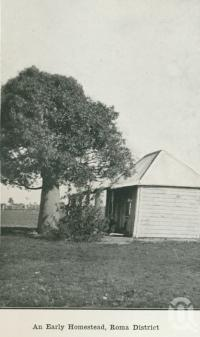 """<span class=""""caption-caption"""">An early homestead, Roma district</span>. <br />From <span class=""""caption-book"""">Australia Unlimited</span>, <span class=""""caption-creator"""">Edwin J Brady</span>, <span class=""""caption-publisher"""">George Robertson & Co</span>, Melbourne, 1918, collection of <span class=""""caption-contributor"""">Centre for the Government of Queensland</span>."""