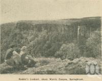 "<span class=""caption-caption"">Rudder's Lookout, above Warrie Canyon, Springbrook</span>. <br />From <span class=""caption-book"">Penrod's 150 miles round Brisbane</span>, <span class=""caption-creator"">Penrod Guide Book Company</span>, Brisbane, 1956, collection of <span class=""caption-contributor"">Centre for the Government of Queensland</span>."