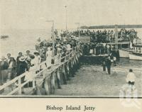 "<span class=""caption-caption"">Bishop Island Jetty</span>. <br />From <span class=""caption-book"">Brisbane Bay Resorts</span>, <span class=""caption-creator"">Queensland Government Tourist Bureau</span>, Brisbane, 1933, collection of <span class=""caption-contributor"">Centre for the Government of Queensland</span>."