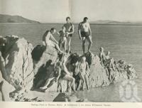 "<span class=""caption-caption"">Bathing party on Hayman Beach</span>. <br />From <span class=""caption-book"">Holidays on the Barrier Reef</span>, <span class=""caption-creator"">Barrier Reef Islands Pty Ltd</span>, c1952, collection of <span class=""caption-contributor"">Centre for the Government of Queensland</span>."