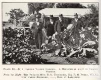 "<span class=""caption-caption"">In a Dawson Valley garden. A ministerial visit to Cracow Station. The Premier Hon E.G. Theodore, Mr F.M. Forde, MLA, Hon James Stopford, Hon J. Larcombe</span>. <br />From <span class=""caption-book"">Queensland Agricultural Journal</span>, 1922, collection of <span class=""caption-contributor"">Fryer Library, UQ</span>."
