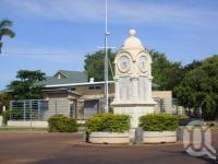 "<span class=""caption-caption"">War memorial clock, Barcaldine in front of Barcaldine Library</span>, 2009. <br />Digital image, collection of <span class=""caption-contributor"">Centre for the Government of Queensland MS</span>."