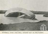 "<span class=""caption-caption"">Windmill tank and well washed out in floods, Tobermorey Station, Urandangie</span>, 1939. <br />Newspaper, collection of <span class=""caption-contributor"">John Young</span>."