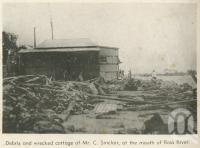 "<span class=""caption-caption"">Cottage at mouth of Ross River, Townsville cyclone</span>, 1940. <br />Newspaper, collection of <span class=""caption-contributor"">John Young</span>."