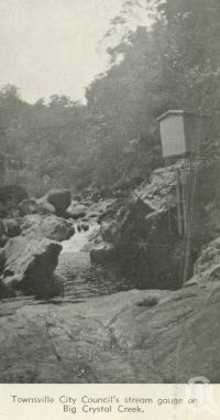 "<span class=""caption-caption"">Townsville City Council's stream gauge on Big Crystal Creek</span>, 1940. <br />Newspaper, collection of <span class=""caption-contributor"">John Young</span>."