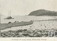 """<span class=""""caption-caption"""">Anchored off Long Island, Whitsunday Passage</span>, 1940. <br />Newspaper, collection of <span class=""""caption-contributor"""">John Young</span>."""