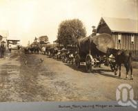 "<span class=""caption-caption"">Bullock team hauling timber at Lowood</span>, date unknown. <br />Photograph, collection of <span class=""caption-contributor"">Mobsby Collection, Fryer Library, UQ</span>."
