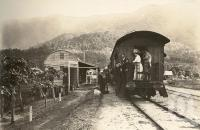 """<span class=""""caption-caption"""">Redlynch Railway Station, 7 miles from Cairns</span>, 1900-1915. <br />Photograph, collection of <span class=""""caption-contributor"""">JC Smith Collection, Fryer Library, UQ</span>."""